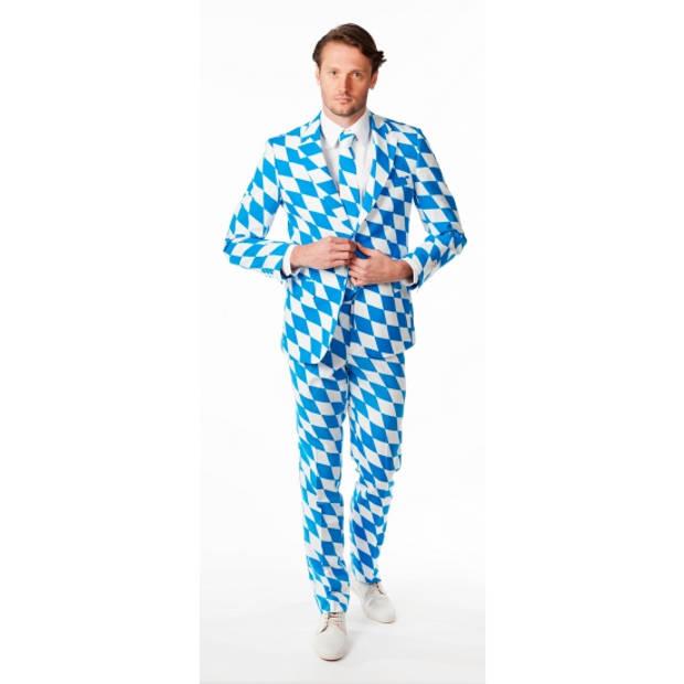 Oktoberfest Opposuits - Bayern Oktoberfest print verkleedkleding net kostuum/pak voor heren inclusief stropdas 50 (L)