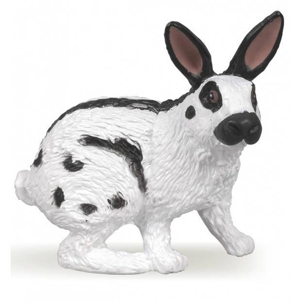 Plastic zwart/wit konijn 4 cm