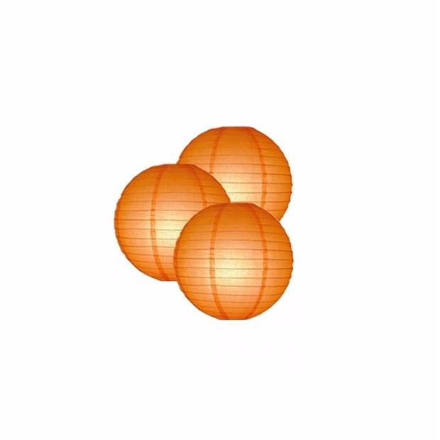3 oranje lampionnen 25 cm