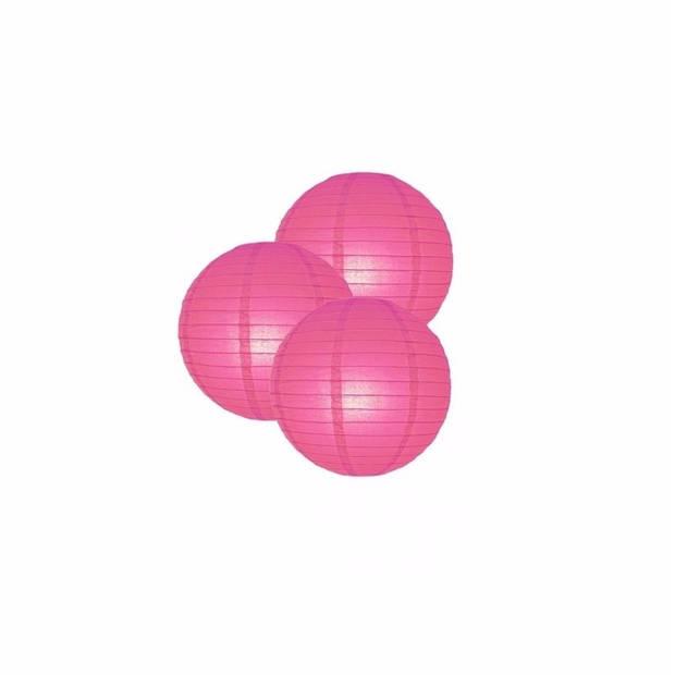 3 fuchsia roze lampionnen 25 cm