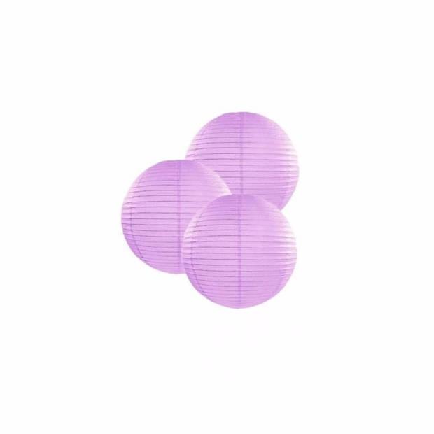 3 lila lampionnen 25 cm