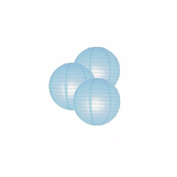 3 lichtblauwe lampionnen 25 cm