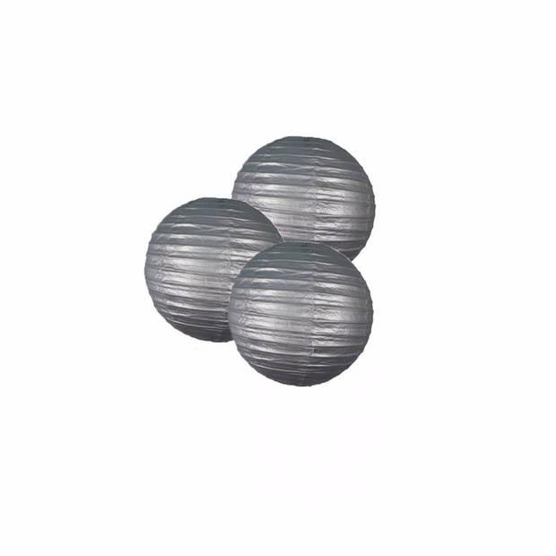 3 zilveren lampionnen 25 cm