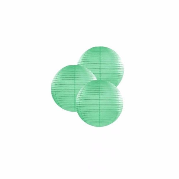 3 mint groene lampionnen 25 cm