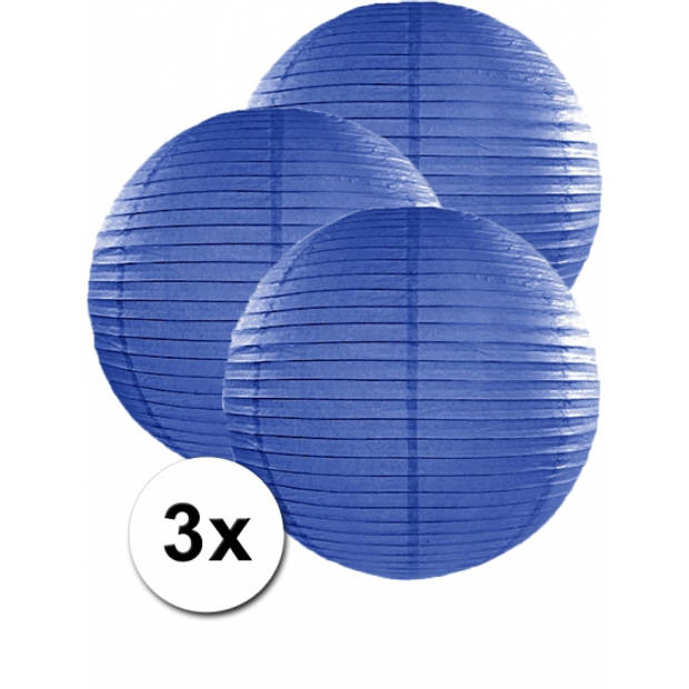 3 donker blauwe lampionnen 50 cm