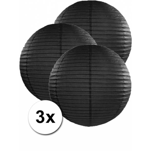 3 zwarte lampionnen 50 cm