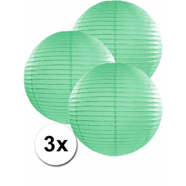 3 mint groene lampionnen 35 cm