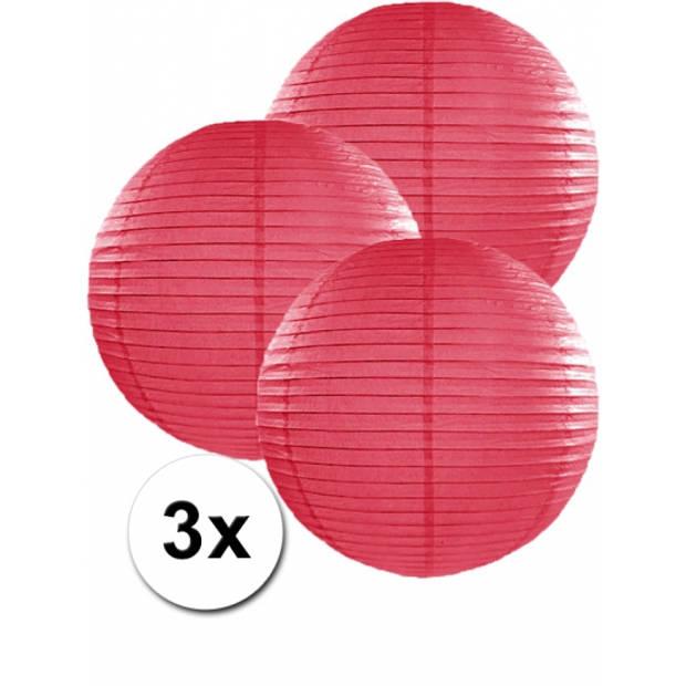 3 fuchsia roze lampionnen 35 cm