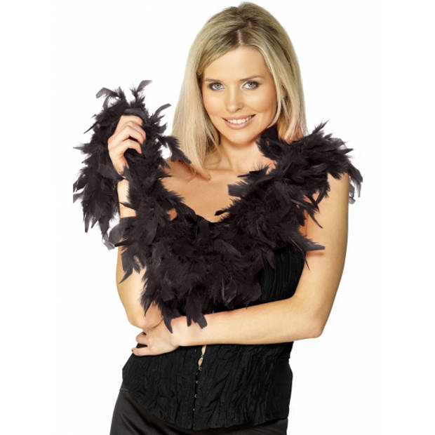 Zwarte party verkleed veren boa 180 cm - Decoratie of kostuum accessoire