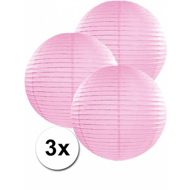 3 lichtroze lampionnen 35 cm