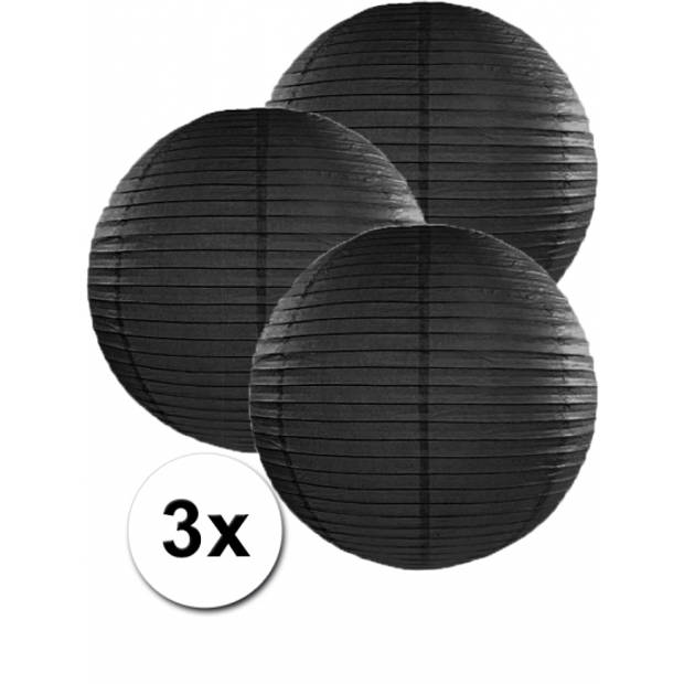 3x zwarte lampionnen 35 cm
