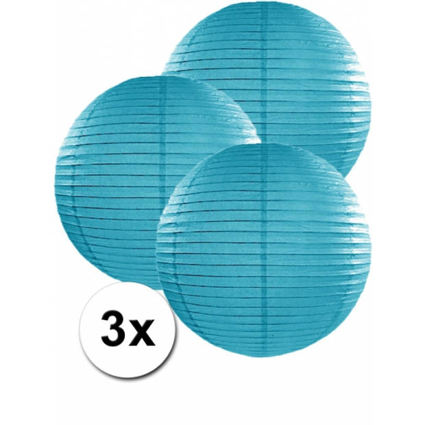 3 turquoise blauwe lampionnen 35 cm