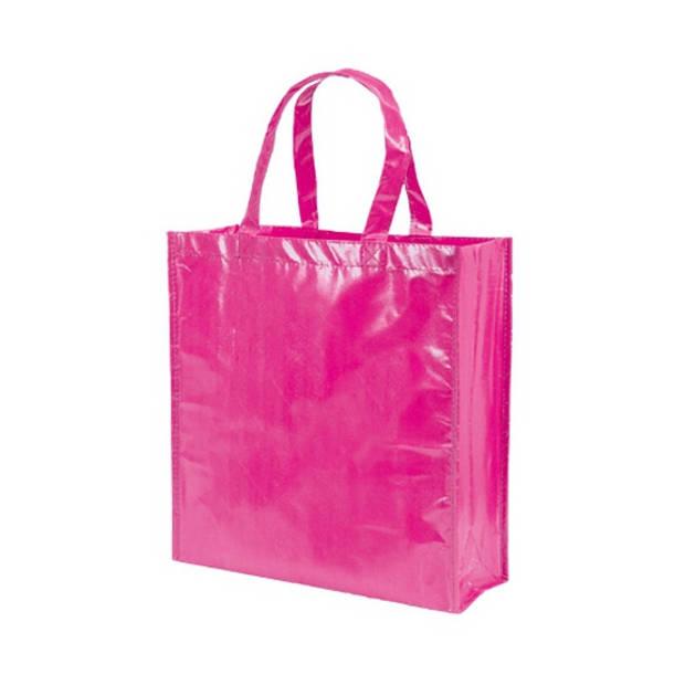 Boodschappentassen shoppers fuchsia roze 38 cm - Tassen en shoppers