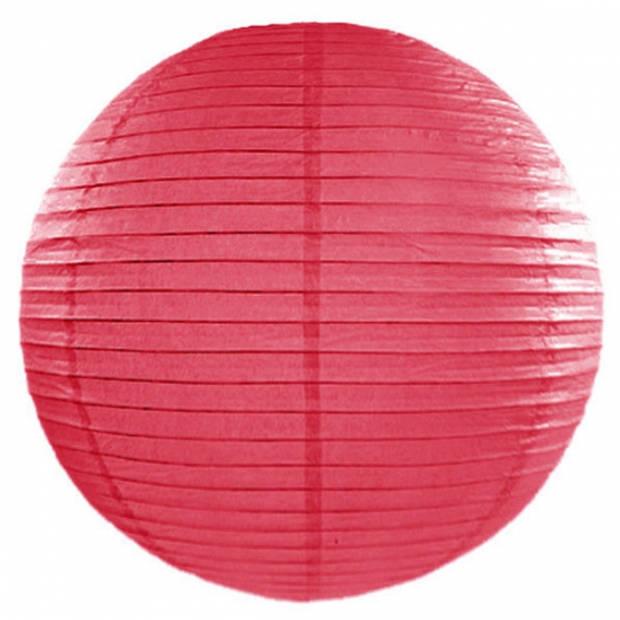 Luxe ronde party lampionnen fuchsia roze 50 cm - Feestartikelen/versieringen