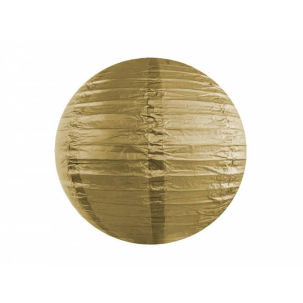 Luxe bol vorm feest lampionnen goud 35 cm - Gouden versieringen en feestartikelen