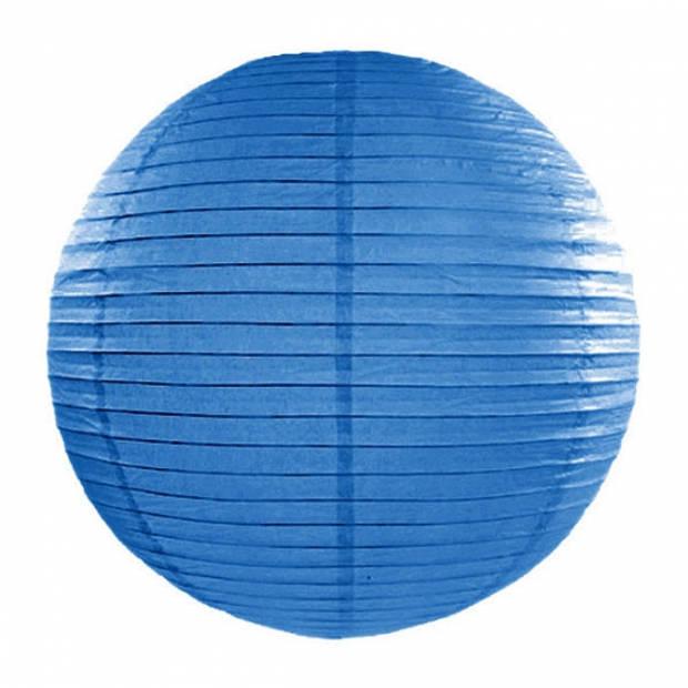 Luxe bol party lampionnen blauw 35 cm - Verjaardag feestartikelen en verseringen