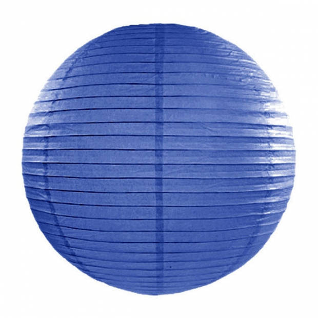 Luxe bol lampionnen donker blauw 35 cm - Party feestartikelen en versieringen