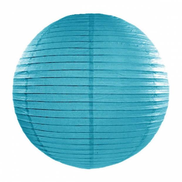 Luxe bol lampionnen turquoise blauw 35 cm - Party feestartikelen en versieringen