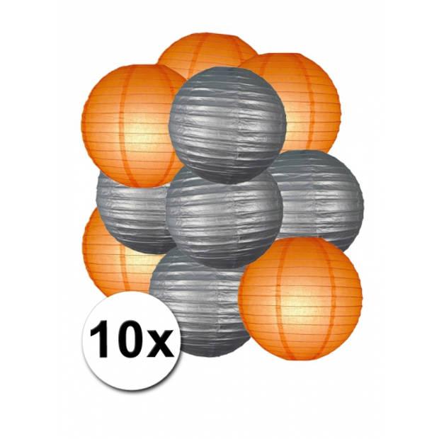 Lampionnen pakket zilver en oranje 10x