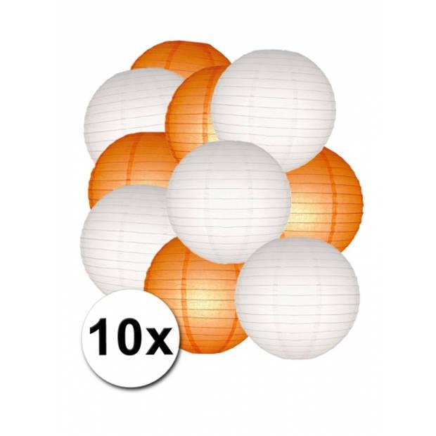 Lampionnen pakket oranje en wit 10x