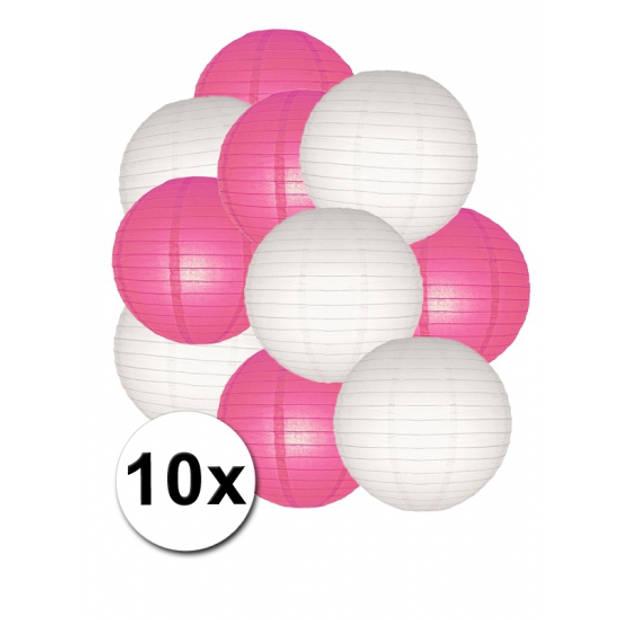 Lampionnen pakket fuchsia en wit 10x