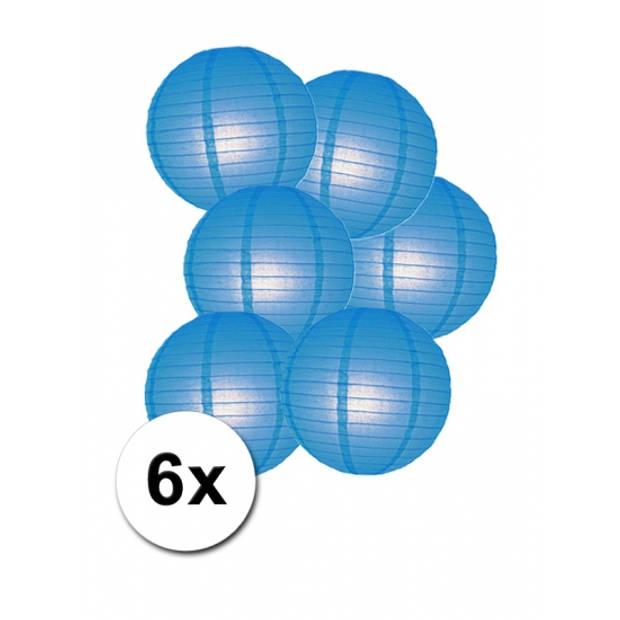 Voordelig lampionnen pakket blauw 6x