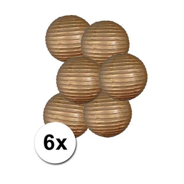 Voordelig lampionnen pakket goud 6x