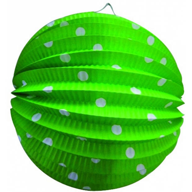 Lampion groen met witte stippen 23 cm