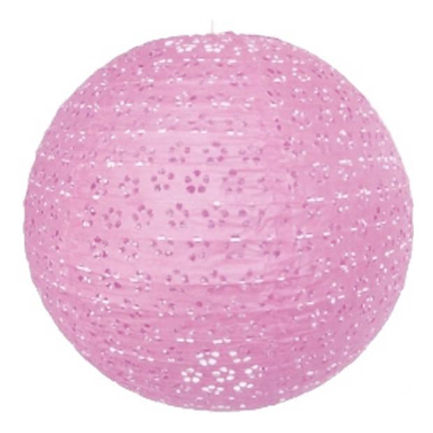 Luxe lampion roze met bloem motief 35 cm