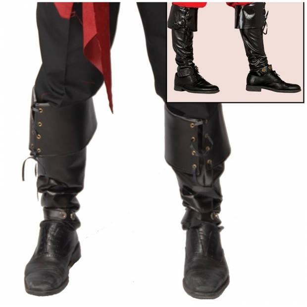 Zwarte laars hoezen halloween / carnaval verkleed accessoire 52 cm