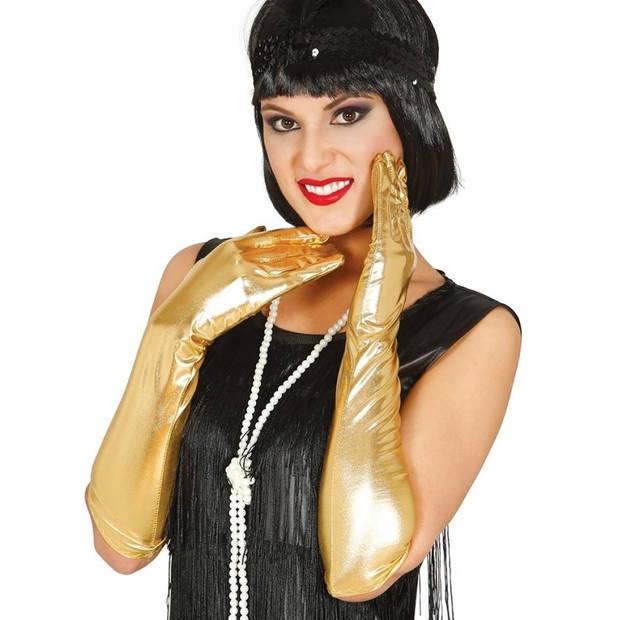 Gouden metallic gala handschoenen voor volwassenen