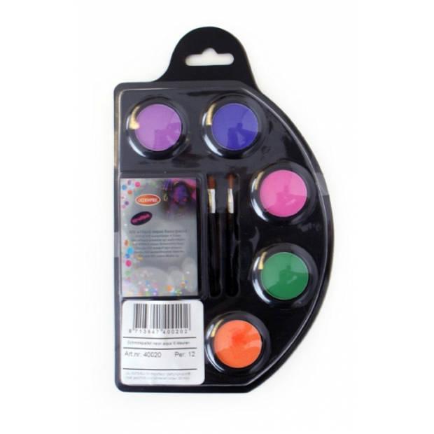 Neon schmink palet zes kleuren