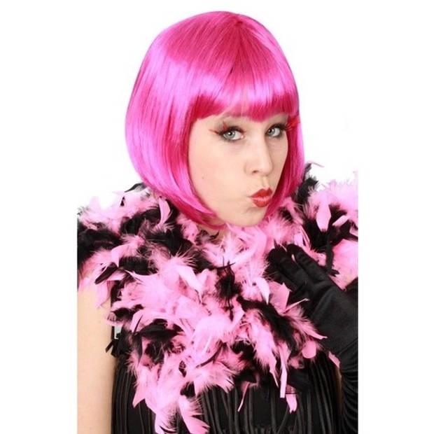 Roze/zwarte boa 180 cm