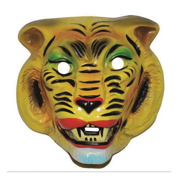 Plastic gele tijger masker voor volwassenen