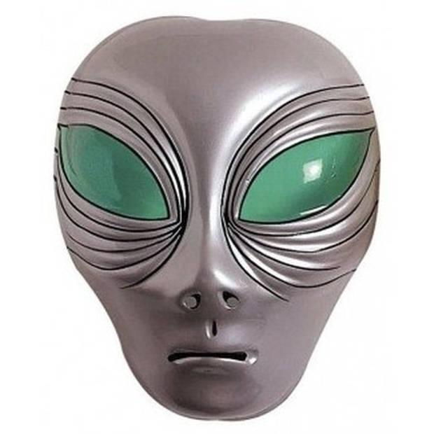 Alien verkleed masker zilver voor volwassenen - Buitenaards wezen verkleed accessoires - Feest gezichtsmaskers
