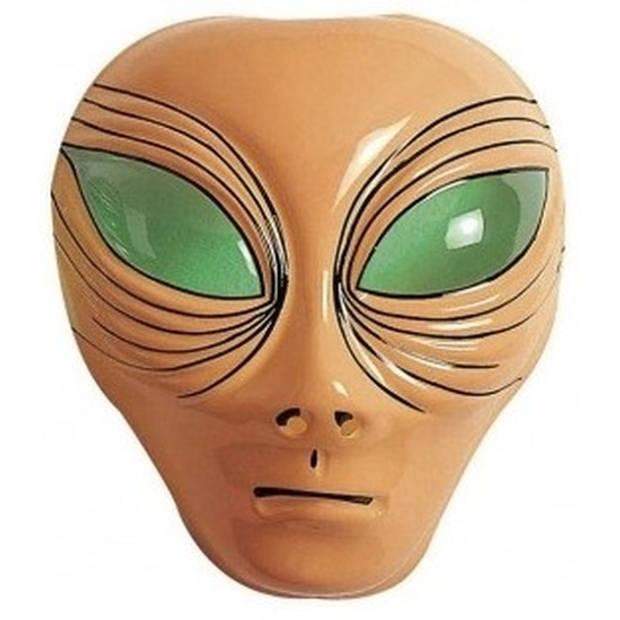 Alien verkleed masker bruin voor volwassenen - Buitenaards wezen verkleed accessoires - Feest gezichtsmaskers