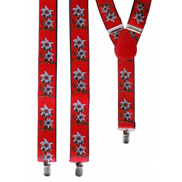 Oktoberfest - Rode Edelweiss bretels met bloemen