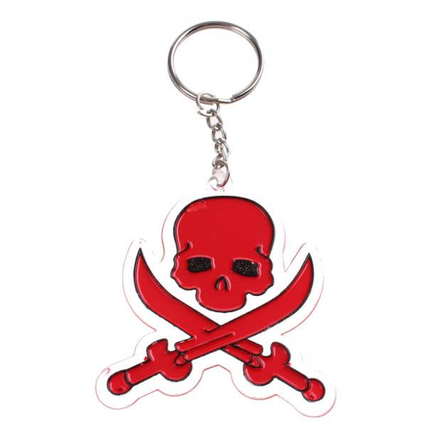 Toi-Toys sleutelhanger doodshoofd rood 7 cm