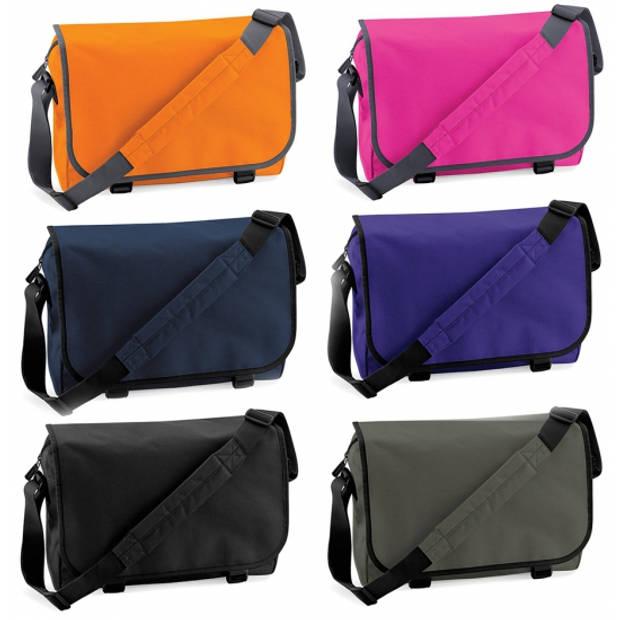 Schoudertas/aktetas diverse kleuren 41 cm voor dames/heren - Schooltassen/laptop tassen met schouderband paars