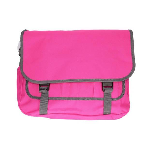 Schoudertas/aktetas diverse kleuren 41 cm voor dames/heren - Schooltassen/laptop tassen met schouderband fuchsia