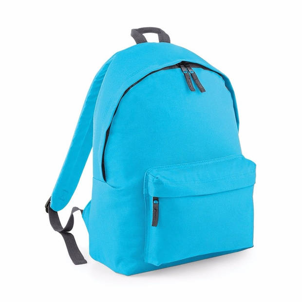 Hippe rugtas met voorvak turquoise blauw - Rugzak voor onderweg - Backpack - Schooltas