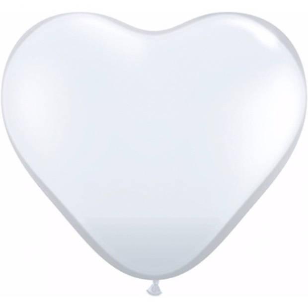 Hartjes ballonnen wit 15 cm 100 stuks - Bruiloftsversiering - Witte ballonnen