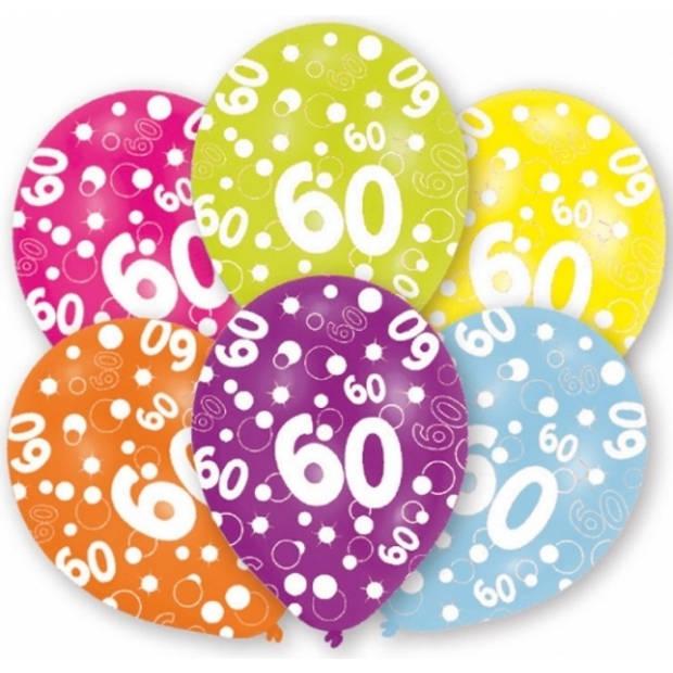 6x stuks 60 jaar leeftijd verjaardag ballonnen 27 cm - Feestartikelen en versiering
