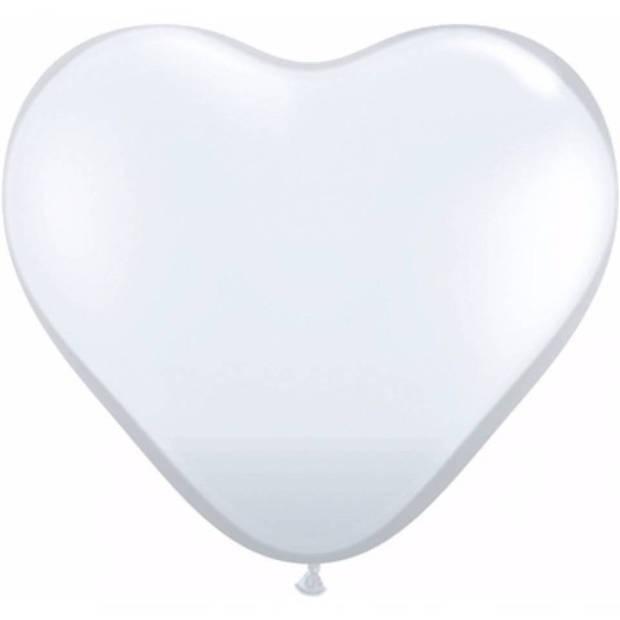 Hartjes ballonnen wit 15x stuks - Bruiloft/Huwelijk feestartikelen/versiering