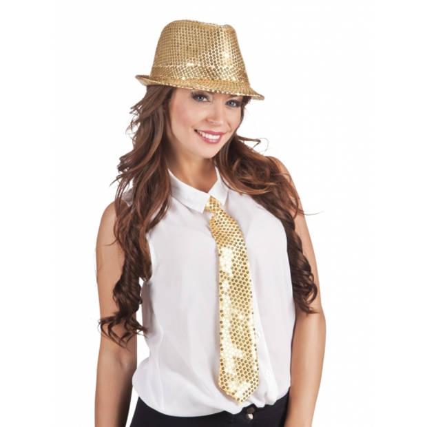Gouden pailletten stropdas 40 cm - Glimmende glitter stropdassen - Foute feest kleding
