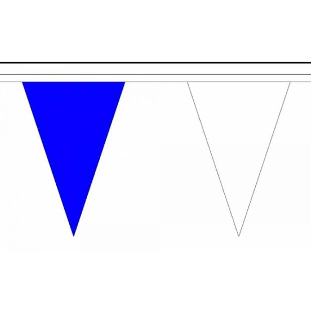 Luxe blauw met witte vlaggenlijn 20 meter
