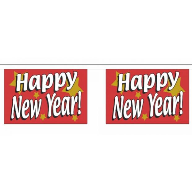 Luxe vlaggenlijn Happy New Year 9 meter - feestvlaggetjes / oud en nieuw