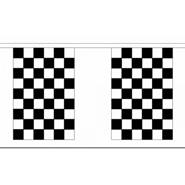 Luxe finish vlaggenlijn 9 meter - Race thema feestartikelen - Race vlaggen - Formule 1 vlag