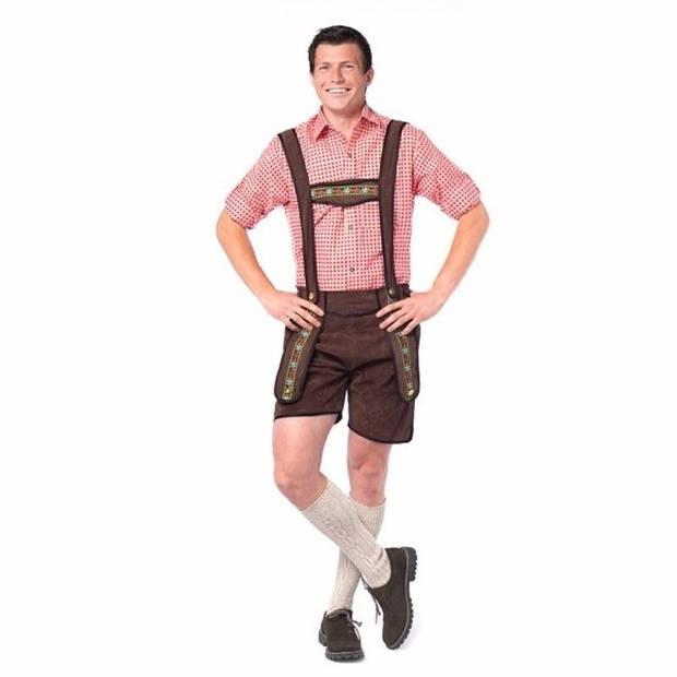 Oktoberfest - Voordelige donkerbruine korte lederhose voor heren 50 (M)