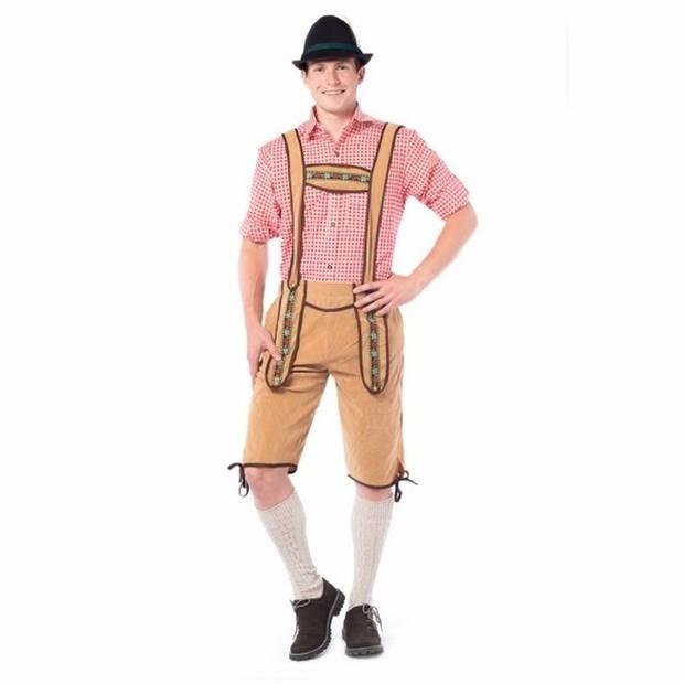 Oktoberfest - Voordelige lange Oktoberfest lederhose lichtbruin voor heren - bierfeest kleding 50 (M)